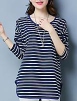 Недорогие -женская футболка - полосатая шея