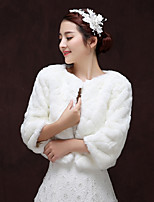 cheap -3/4 Length Sleeve Faux Fur Wedding / Birthday Women's Wrap With Patterned Coats / Jackets