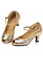 Недорогие -Жен. Обувь для латины Синтетика На каблуках Тонкий высокий каблук Танцевальная обувь Золотой