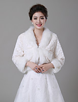 cheap -Long Sleeve Faux Fur Wedding / Party / Evening Women's Wrap With Ruching / Patterned Shrugs