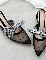 Недорогие -Жен. Балетки Сетка Лето Обувь на каблуках На толстом каблуке Черный / Миндальный