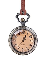 cheap -Women's Pocket Watch Quartz Lovely Leather Band Analog Vintage Brown - Brown