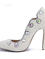 economico -Per donna PU (Poliuretano) Primavera & Autunno Lavoro scarpe da sposa A stiletto Appuntite Con diamantini / Perle Bianco / Matrimonio / Serata e festa