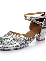 cheap -Women's Latin Shoes Patent Leather Sandal / Heel Splicing Thick Heel Customizable Dance Shoes Silver