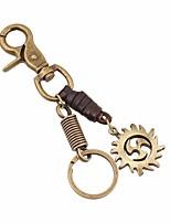 abordables -Porte-clés Marron Irrégulier, Twist Circle, Equipement Cuir, Alliage Rétro, Mode Pour Quotidien / Plein Air