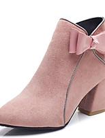 Недорогие -Жен. Fashion Boots Полиуретан Осень Минимализм Ботинки На толстом каблуке Заостренный носок Ботинки Бант Черный / Бежевый / Розовый
