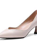 Недорогие -Жен. Обувь Наппа Leather Весна Туфли лодочки Обувь на каблуках На шпильке Черный / Бежевый