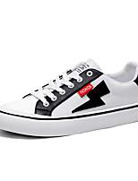 cheap -Men's Canvas / PU(Polyurethane) Fall Comfort Sneakers Color Block White / Black