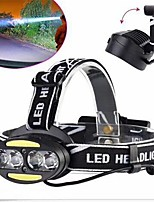 cheap -Headlamps LED 30000 lm 7 Mode with USB Cable Waterproof / Portable / Adjustable Camping / Hiking / Caving / Cycling / Bike / Hunting Black