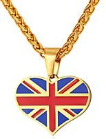Недорогие -Муж. Классический Ожерелья с подвесками - Нержавеющая сталь Сердце, Флаг Английский Сердце Золотой, Серебряный 55 cm Ожерелье Бижутерия 1шт Назначение Подарок, Повседневные