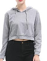 Недорогие -женский длинный рукав с капюшоном - сплошной цвет с капюшоном