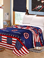 cheap -Flannel, Printed Cartoon Cotton / Polyester Blankets