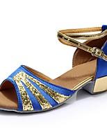 economico -Per donna Scarpe per balli latini Raso / Vernice Sandali / Tacchi A fantasia Tacco spesso Personalizzabile Scarpe da ballo Blu