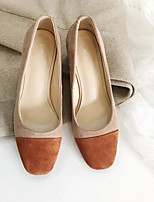 Недорогие -Жен. Обувь Замша Весна Удобная обувь Обувь на каблуках На толстом каблуке Черный / Коричневый / Миндальный