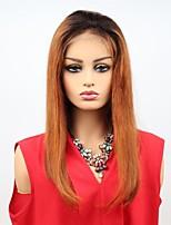 Недорогие -Remy Лента спереди Парик Бразильские волосы Прямой Парик Ассиметричная стрижка 130% / 150% Женский / Легко туалетный / Sexy Lady Жен. Очень длинный Парики из натуральных волос на кружевной основе