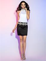 economico -A tubino All'americana Corto / mini Chiffon / Raso Vestito con Dettagli con cristalli / Drappeggio / Dettagli con perline di TS Couture®