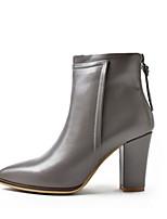 Недорогие -Жен. Обувь Наппа Leather Наступила зима Удобная обувь / Ботильоны Ботинки На толстом каблуке Черный / Серый