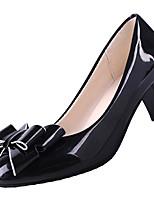 Недорогие -Жен. Полиуретан Лето Туфли лодочки Обувь на каблуках На толстом каблуке Заостренный носок Бант Белый / Черный / Бежевый