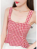 cheap -women's tank top - plaid strap