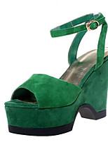 baratos -Mulheres Sapatos Confortáveis Pele de Carneiro Primavera Saltos Salto Plataforma Preto / Verde
