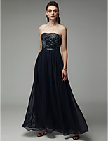 cheap -A-Line Strapless Floor Length Chiffon Open Back Formal Evening Dress with Beading by TS Couture®