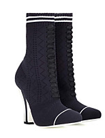 cheap -Women's Shoes Elastic Fabric Fall & Winter Comfort Boots Chunky Heel Black
