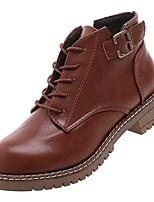 Недорогие -Жен. Полиуретан Осень Армейские ботинки Ботинки На низком каблуке Круглый носок Черный / Темно-коричневый