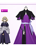 cheap -Inspired by Fate / Zero Jeanne d'Arc Anime Cosplay Costumes Cosplay Suits Simple Dress / Shawl / Socks For Women's Halloween Costumes