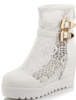cheap -Women's Shoes Mesh / PU(Polyurethane) Spring & Summer Fashion Boots Boots Creepers Round Toe Mid-Calf Boots White / Black / Beige / Party & Evening