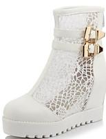 abordables -Femme Chaussures Maille / Polyuréthane Printemps été Bottes à la Mode Bottes Creepers Bout rond Bottes Mi-mollet Blanc / Noir / Beige / Soirée & Evénement