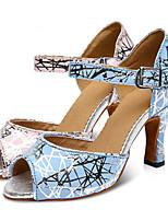 Недорогие -Жен. Обувь для латины Кожа На каблуках Тонкий высокий каблук Танцевальная обувь Розовый / Темно-синий