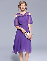 cheap -Women's Elegant Chiffon Dress - Solid Colored Beaded / Cut Out