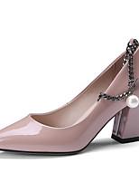 Недорогие -Жен. Обувь Наппа Leather Весна Туфли лодочки Обувь на каблуках На толстом каблуке Черный / Розовый