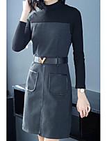 economico -Per donna Per uscire Linea A Vestito A collo alto Sopra il ginocchio Vita alta