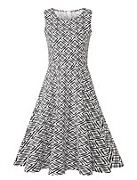 Недорогие -Жен. Винтаж / Элегантный стиль С летящей юбкой Платье - Шахматка, С принтом Средней длины Черное и белое