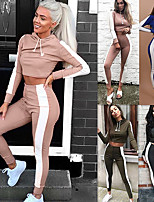cheap -Women's Cropped 2pcs Tracksuit - Army Green, Blue, Pink Sports Color Block High Rise Cropped hoodie / Crop hoodie / Skinny Pants Yoga, Running, Fitness Long Sleeve Activewear Breathable, Power Flex