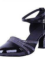 Недорогие -Жен. Обувь для модерна Полиуретан На каблуках Толстая каблук Танцевальная обувь Золотой / Черный / Серебряный