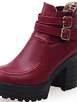 billiga -Dam Fashion Boots Mocka / PU Höst vinter Stövlar Bastant klack Rundtå Korta stövlar / ankelstövlar Svart / Röd / Mandel