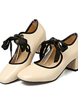 Недорогие -Жен. Комфортная обувь Лакированная кожа Весна Обувь на каблуках На толстом каблуке Розовый / Миндальный
