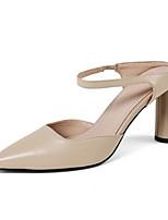 Недорогие -Жен. Наппа Leather Лето Удобная обувь Обувь на каблуках На шпильке Черный / Желтый / Миндальный