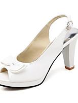 Недорогие -Жен. Полиуретан Лето Удобная обувь Обувь на каблуках На толстом каблуке Белый / Светло-желтый / Розовый