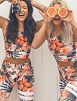 cheap -Women's Sexy 2pcs Tracksuit / Yoga Suit - Orange, Green, Violet Sports Floral / Botanical, Print Spandex High Rise Tights / Leggings / Crop Top Running, Fitness, Gym Sleeveless Activewear Breathable