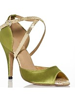 Недорогие -Жен. Обувь для латины / Обувь для самбы Сатин На каблуках Пряжки Тонкий высокий каблук Персонализируемая Танцевальная обувь Военно-зеленный