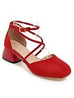 Недорогие -Жен. Обувь Микроволокно Весна лето Удобная обувь Обувь на каблуках На толстом каблуке Красный / Зеленый / Розовый