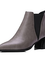 cheap -Women's Shoes PU(Polyurethane) Fall & Winter Fashion Boots Boots Chunky Heel Pointed Toe Booties / Ankle Boots Black / Gray / Red