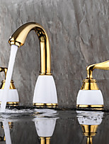 cheap -Bathroom Sink Faucet - Widespread / New Design Gold Deck Mounted Two Handles Three Holes