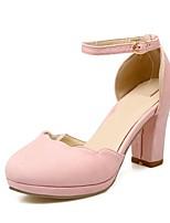 Недорогие -Жен. Замша Весна лето Удобная обувь Обувь на каблуках На толстом каблуке Розовый / Миндальный / Темно-зеленый
