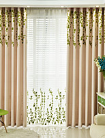 cheap -Blackout Curtains Drapes Living Room Floral 100% Polyester Embroidery