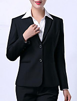 cheap -women's going out blazer-solid colored peter pan collar