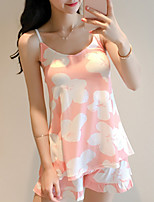 cheap -Women's Round Neck Matching Bralettes / Suits Pajamas Floral